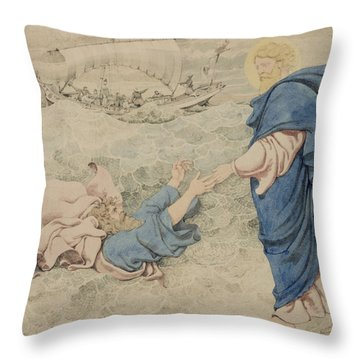 Sketch Of Christ Walking On Water Throw Pillow by Richard Dadd