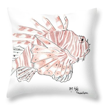 Sketch Of Lion Fish At London Aquarium Throw Pillow