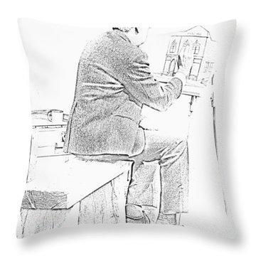 Sketch Of Old Man Painting  Alberta Throw Pillow