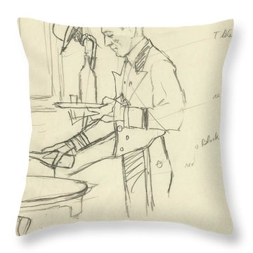 Sketch Of Waiter Pouring Wine Throw Pillow