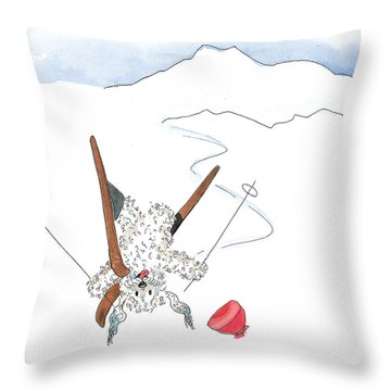 Ski Fail Throw Pillow by Leah Wiedemer