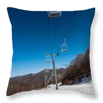 Ski Lift Throw Pillow by Alex Grichenko