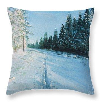 Throw Pillow featuring the painting Ski Tracks by Martin Howard