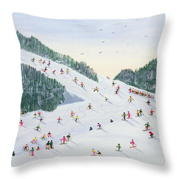 Ski Vening Throw Pillow by Judy Joel