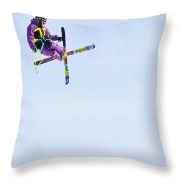 Ski X Throw Pillow by Theresa Tahara