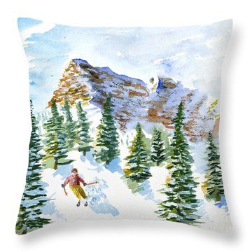 Skier In The Trees Throw Pillow