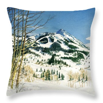 Skiers Paradise Throw Pillow by Barbara Jewell