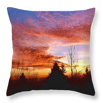 Throw Pillow featuring the photograph Skies Ablaze by Sadie Reneau