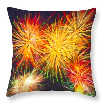 Skies Aglow With Fireworks Throw Pillow by Mark E Tisdale