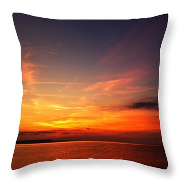 Skies On Fire Throw Pillow by Baggieoldboy