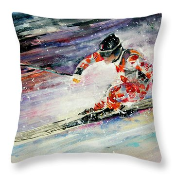 Skiing 01 Throw Pillow