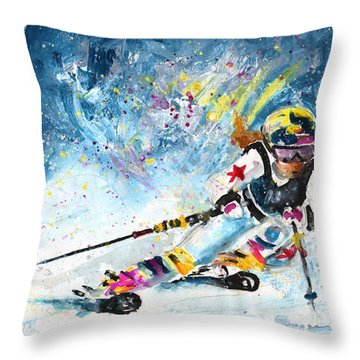 Skiing 03 Throw Pillow