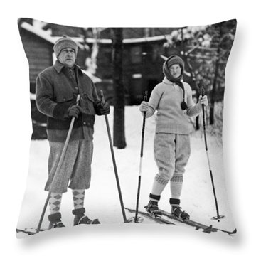 Skiing At Lake Placid In Ny Throw Pillow by Underwood Archives
