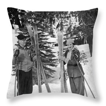 Skiing Badger Pass In Yosemite Throw Pillow by Underwood Archives