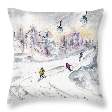 Skiing In The Dolomites In Italy 01 Throw Pillow