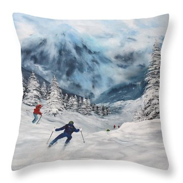Throw Pillow featuring the painting Skiing In Italy by Jean Walker