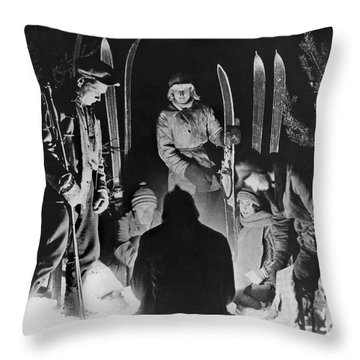 Skiing Party Camps In Siberia Throw Pillow by Underwood Archives