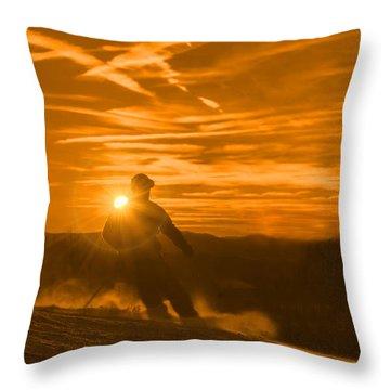 Skiing West Virgina Sunset Throw Pillow by Dan Friend