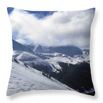 Skiing With A View Throw Pillow by Fiona Kennard