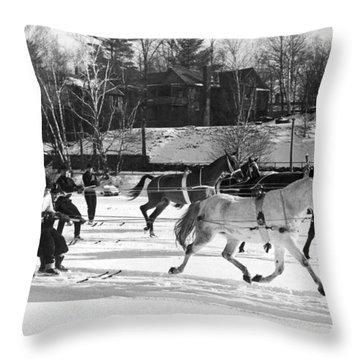 Skijoring At Lake Placid Throw Pillow
