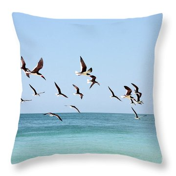 Skimmers And Swimmers Throw Pillow by Carol Groenen