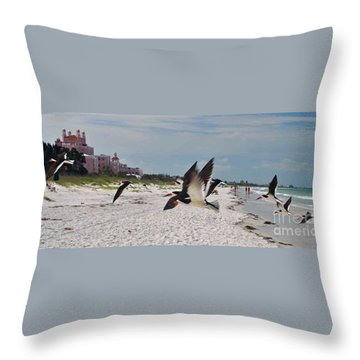 Black Skimmers At Don Cesar Throw Pillow
