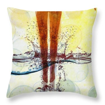 Skinny Dipping Throw Pillow by Bob Orsillo