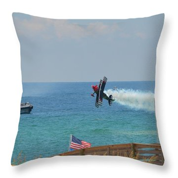 Throw Pillow featuring the photograph Skip Stewart Extreme Low-level Practice by Jeff at JSJ Photography