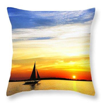 Skipjack Under Full Sail At Sunset Throw Pillow by Thomas R Fletcher