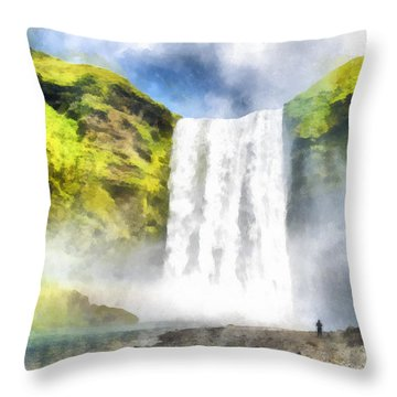 Skogafoss Waterfall Iceland Painting Aquarell Watercolor Throw Pillow