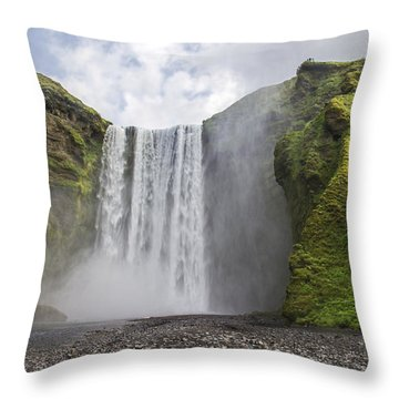 Skogarfoss Waterfall Throw Pillow