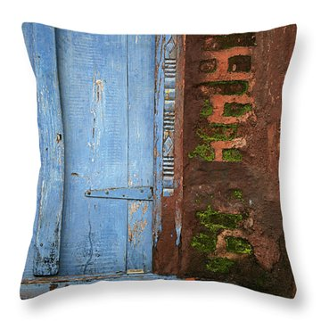 Skc 0302 A Village House Throw Pillow by Sunil Kapadia
