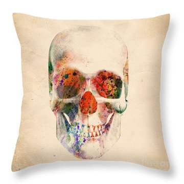 Skull 12 Throw Pillow by Mark Ashkenazi