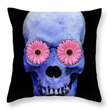 Skull Art - Day Of The Dead 1 Throw Pillow by Sharon Cummings