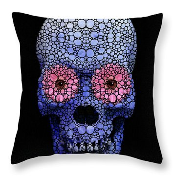 Skull Art - Day Of The Dead 1 Stone Rock'd Throw Pillow by Sharon Cummings