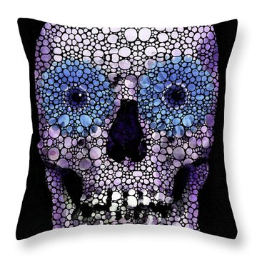 Skull Art - Day Of The Dead 2 Stone Rock'd Throw Pillow by Sharon Cummings