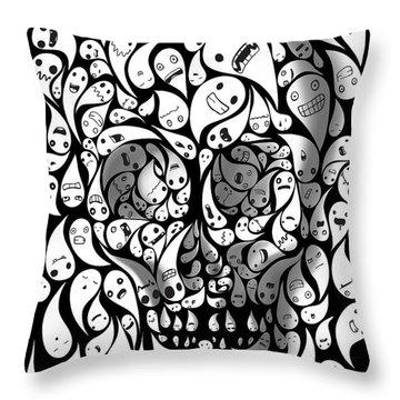 Skull Doodle Throw Pillow
