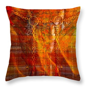 Skull On Fire Throw Pillow