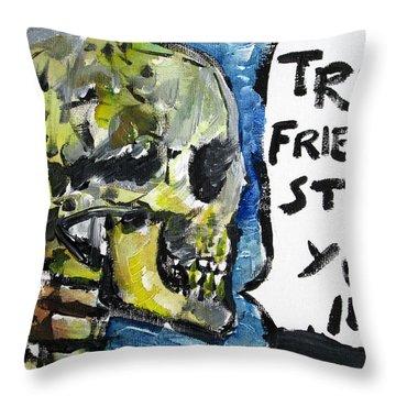 Skull Quoting Oscar Wilde.2 Throw Pillow by Fabrizio Cassetta