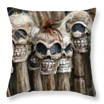 Skull Sticks Throw Pillow