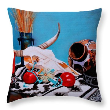 Throw Pillow featuring the painting Skull Still Life by M Diane Bonaparte