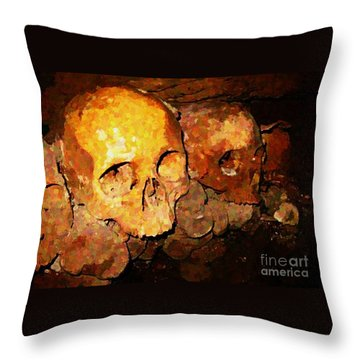 Skulls In The Paris Catacombs Throw Pillow by John Malone