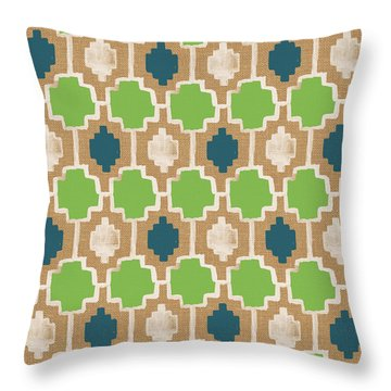 Sky And Sea Tile Pattern Throw Pillow by Linda Woods