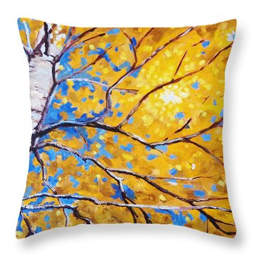 Sky Birch Throw Pillow