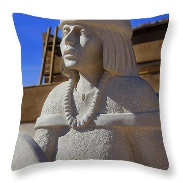 Sky City Cultural Center Statue Throw Pillow