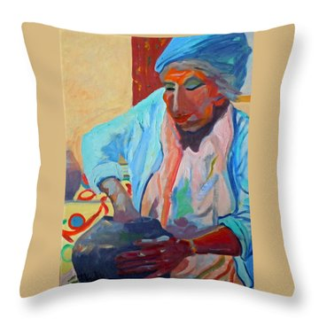 Throw Pillow featuring the painting Sky City - Marie by Francine Frank