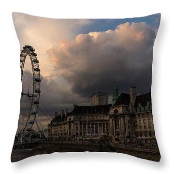 Sky Drama Around The London Eye Throw Pillow