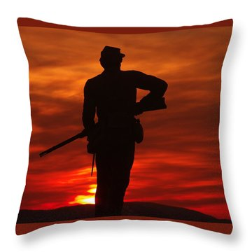 Sky Fire - 111th New York Infantry Hancock Avenue Brian Farm Cemetery Ridge Sunset Winter Gettysburg Throw Pillow by Michael Mazaika