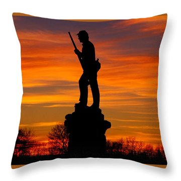 Sky Fire - 128th Pennsylvania Volunteer Infantry A1 Cornfield Avenue Sunset Antietam Throw Pillow by Michael Mazaika