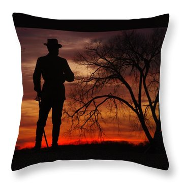 Sky Fire - Brigadier General John Buford - Commanding First Division Cavalry Corps Sunset Gettysburg Throw Pillow by Michael Mazaika